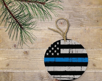 Thin Blue Line Ornament, USA Flag Christmas Ornament, Police Flag, USA, Christmas Ornament, American Flag, American, Stars and Stripe