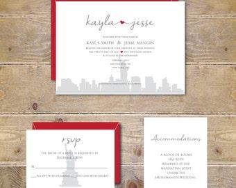 Wedding Invitations, New York City, NYC Wedding, Heart Wedding Invitations, City Weddings, Modern Wedding, Affordable Wedding, NYC