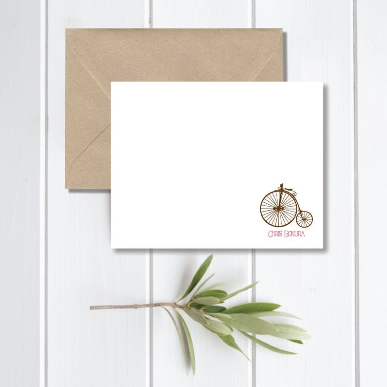 Penny Farthing Bikes Stationary Penny Farthing Note Cards Bicycle Note Cards Thank You Cards Personalized Stationery Mother/'s Day