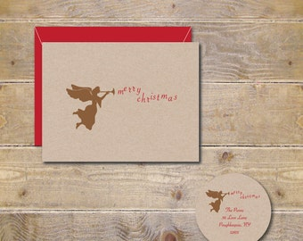 Christmas Cards, Angels, Horns, Holiday Cards, Rustic Christmas,  Angel Cards, Christmas Card Sets,  Holiday Card Sets,  Angel Horn