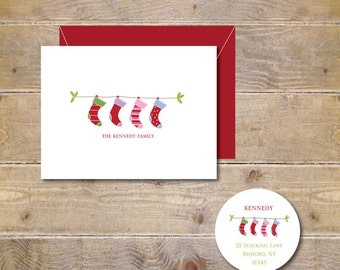 Christmas Cards, Christmas Stockings, Rustic Christmas Cards, Holiday Cards, Christmas Card Set, Handmade, Holiday Card Set