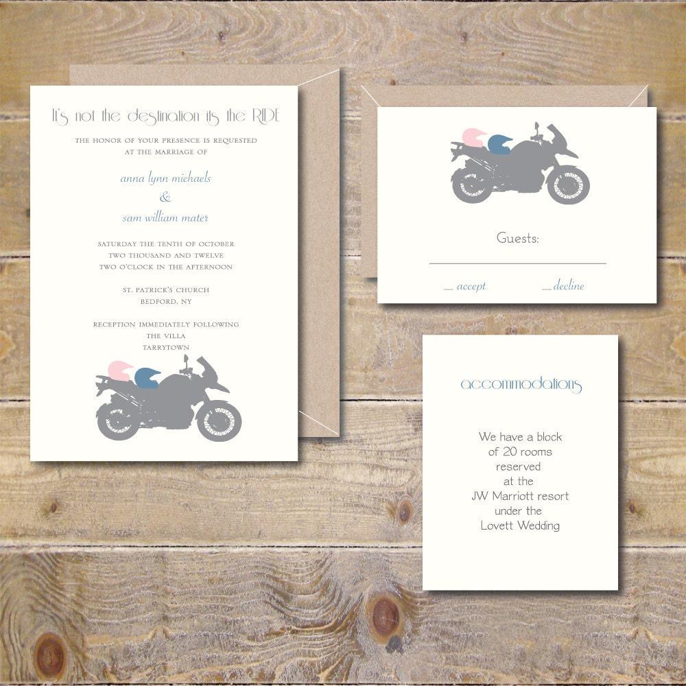 Motorcycle Wedding Invitations Motorcycles Wedding Invites   Etsy