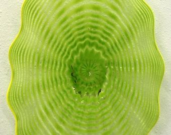 Beautiful Hand Blown Glass Art  Platter Bowl  7584 GREEN ONEIL