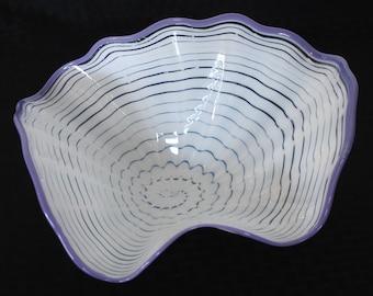 Beautiful Hand Blown Glass Art  Platter Bowl  7684 White ONEIL
