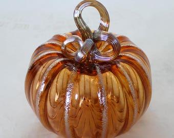 Hand Blown Glass Art Sculpture  Pumpkin Gourd Oneil 7966