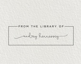Library Stamp, Book Stamp - Style #04, Self Inking Stamp, Gifts for Book Lovers, From the Library of, Ex Libris Stamp, Wood Stamp