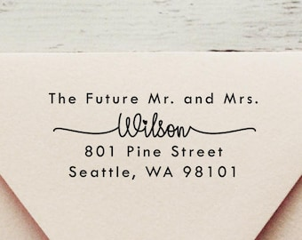 Future Mr and Mrs,Self Inking Address Stamp, Wedding Stamp, Save the Date Stamp, Return Address Stamp, Custom Stamp, Mr and Mrs - Style #97