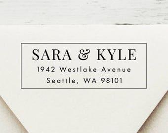 Return Address Stamp, Self-Inking Address Stamp, Custom Stamp, Wedding Stamp, Modern Chic Stamp, Wood Stamp, Housewarming Gift - Style #98