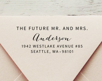 Future Mr and Mrs,Self Inking Address Stamp, Wedding Stamp, Save the Date Stamp, Return Address Stamp, Custom Stamp, Mr and Mrs - Style #76