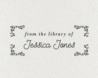 Book Stamp, From the Library of, Library Stamp, Gift for Book Lover, Bookworm Gift, Personalized Book Stamp, Ex Libris Bookplate | #29
