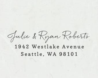 Return Address Stamp, Self-Inking Address Stamp, Custom Return Address Stamp, Wood Stamp, Calligraphy Stamp, Housewarming Gift - Style #87
