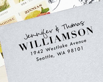 Return Address Stamp, Self-Inking Address Stamp, Custom Stamp, Modern Stamp, Personalized Stamp, Wedding Stamp, Wood Stamp - Style #85