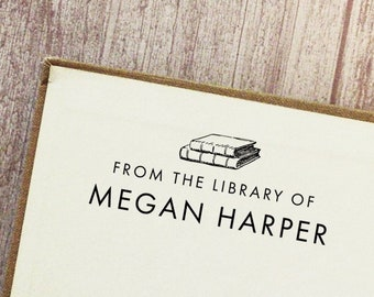 Book Stamp, From the Library of, Library Stamp, Gift for Book Lover, Bookworm Gift, Personalized Book Stamp, Ex Libris Bookplate | #23C