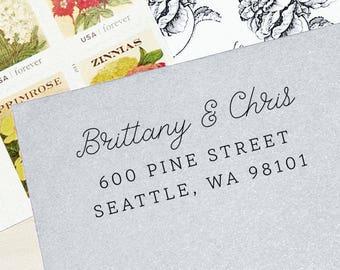 Return Address Stamp, Self-Inking Address Stamp, Custom Return Address Stamp, Wood Stamp, Personalized Stamp, Housewarming Gift - Style #82
