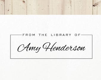 Book Stamp, From the Library of, Library Stamp, Gift for Book Lover, Bookworm Gift, Personalized Book Stamp, Ex Libris Bookplate | #04C