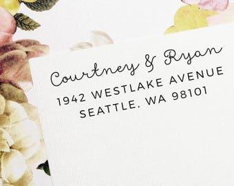 Return Address Stamp, Self-Inking Address Stamp, Custom Return Address Stamp, Wood Stamp, Personalized Stamp, Housewarming Gift - Style #102