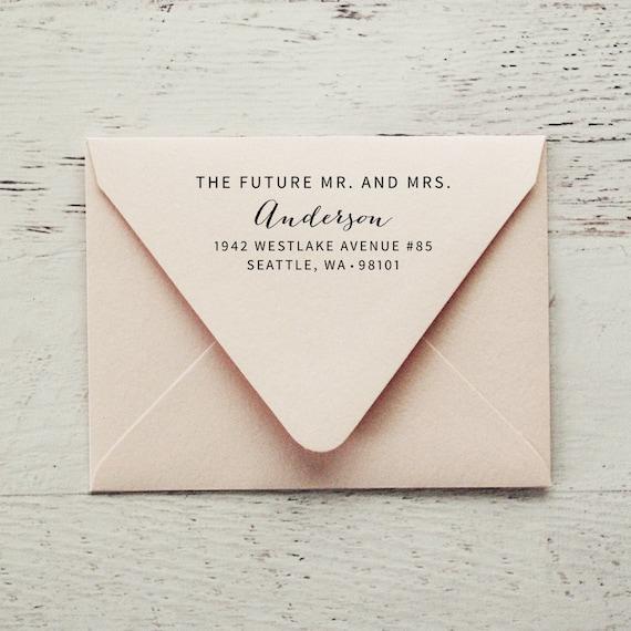future mr and mrsself inking address stamp wedding stamp etsy