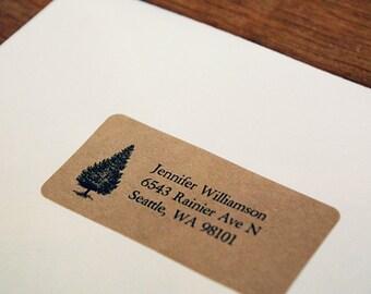 Pine Tree Address Labels, Custom Return Address Labels - Tree Address Labels, Holiday Return Address Labels, Pine Tree, Christmas Tree