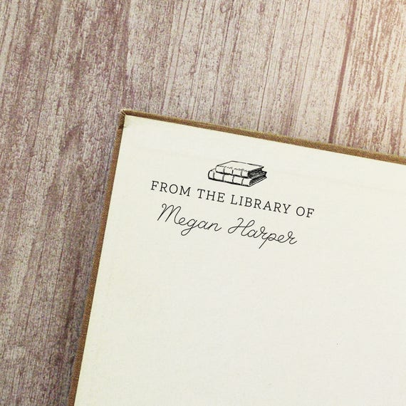 Book Stamp Library Wood Mounted Or Self Inking