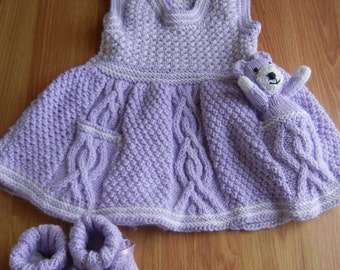Cable Dress and Bear Booties