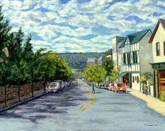 Giclee on Stretched Canvas: Dobbs Ferry, Main Street to Palisades