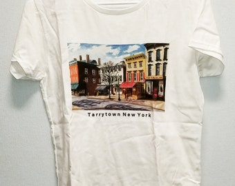 Tarrytown T-shirt, White, Images on Front and Back