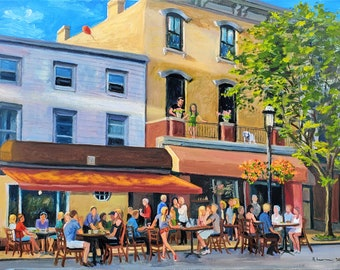 Giclee on Stretched Canvas, 9x12 inches: Tarrytown, Main Street, Summer of 2020, with Dining in the Street