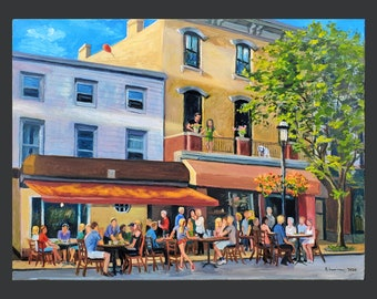 Giclee on Paper, 8.5x11 inches: Tarrytown, Main Street, Summer of 2020, with Dining in the Street
