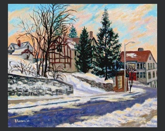 Dobbs Ferry Winter Scene with Library