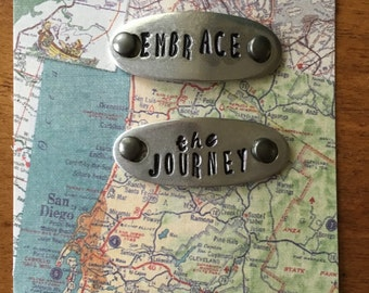Shoe Tags, Runner Jewelry, Runner/Walker Gift, Shoe Jewelry, Embrace the Journey tags, Pewter Shoe Tags