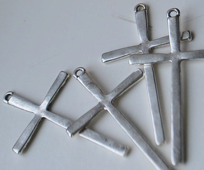 24 pieces Antique Silver Cross Charms 61mm x 36mm