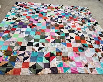 Vintage Patchwork Quilt, X-Large Multi-Colored