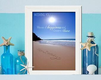 Happy Birthday Gift Beach Party Digital Download