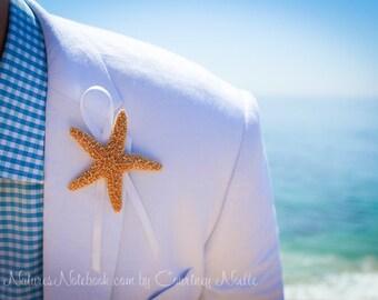 Única playa estrella de mar Boutonniere - con opciones de cinta 35 - playa solapa Pin - regalo padrino - playa destino boda