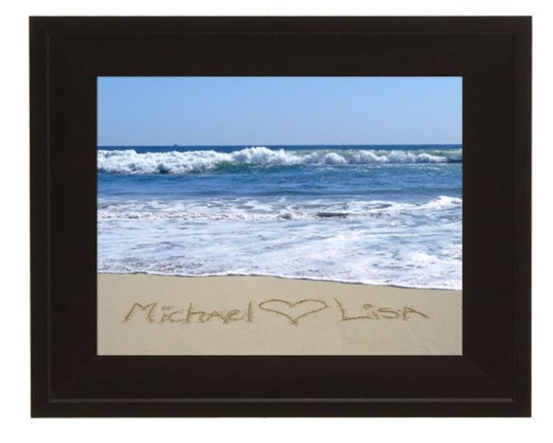 Bride and Groom Wedding Gift Framed personalized sand writing image 0