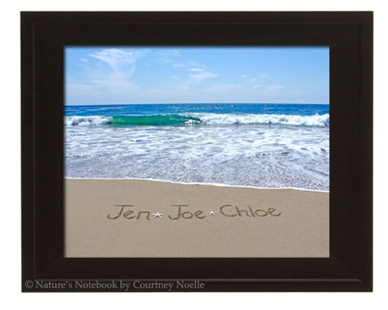 Unique Housewarming Gift 8x10 Personalized Gift - Kids names written in the  real sand beach  - Family Names written on the Real Beach Sand