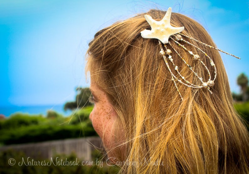Natural Starfish Hair Clip  Starfish Hair Barrette  Mermaid image 0