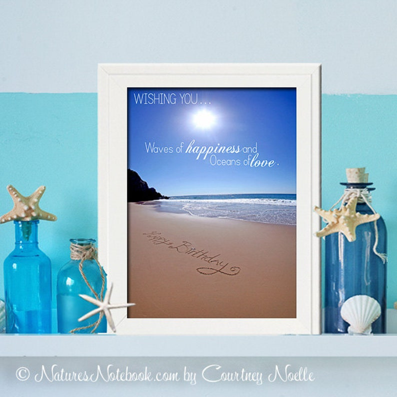 Happy Birthday Gift Beach Birthday Party Digital Download   image 0