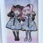 Spooky Halloween Treats Angelic Pretty EGL Lolita Fanart Kawaii Girl Original Copic Art Framed Artwork 5X7 inches