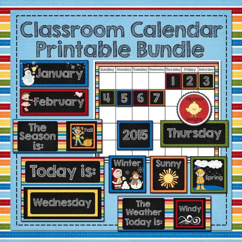 Clroom Calendar Template | Classroom Calendar Printable Bundle Etsy
