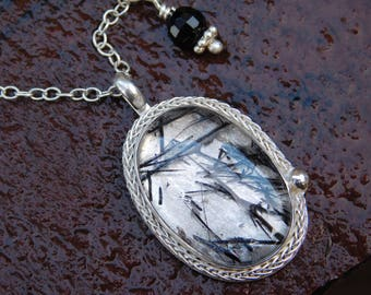 Black Tourmalinated Quartz and Sterling Silver Blossom