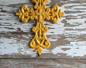 Yellow Cast Iron Wall Cross -  #154