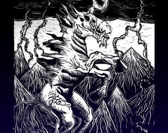 Evil Unicorn - Friendship is Madness! Linocut Print