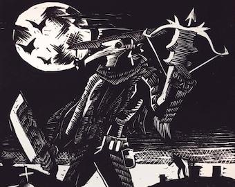 Plague Hunter Linocut Relief Print