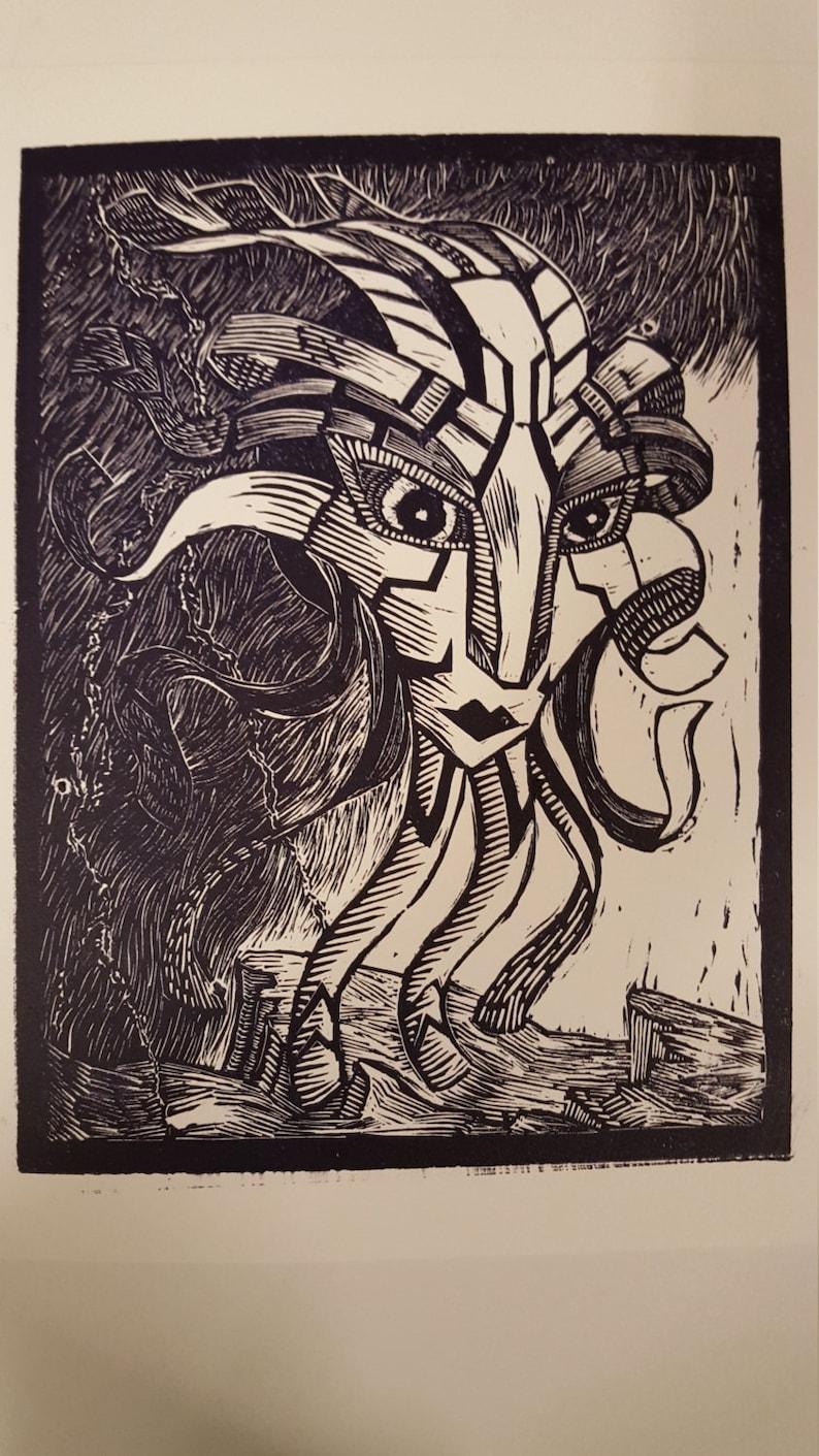 Calm Before Storm Floating God Head Linocut Print image 0