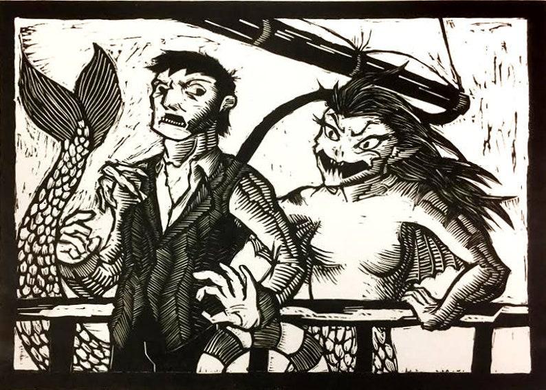 Mermaid Linocut Print image 0