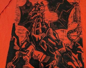 Robot Dragon Linocut Hand-printed T-shirt