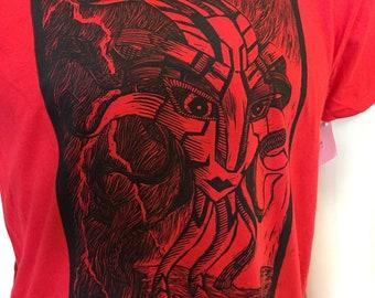 Calm Before Storm Floating God Head Linocut T-shirt