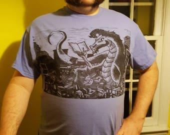 Bookwyrm Linocut Print T shirt