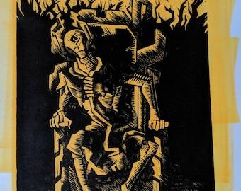 King in Yellow Linocut Print